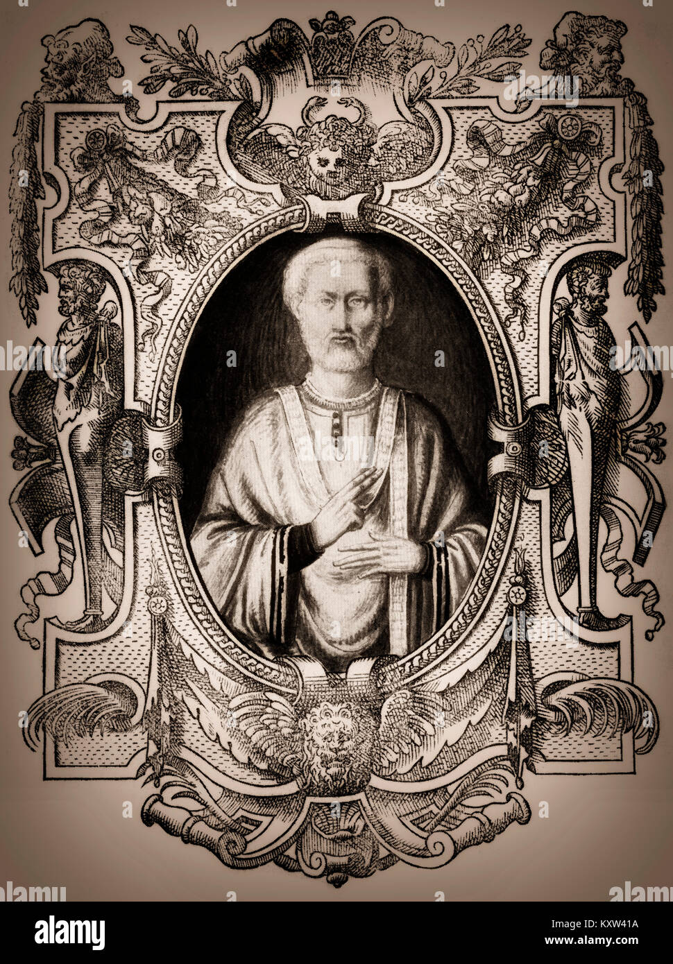 Sylvester I, was Pope from  314 to his death in 335 - Stock Image