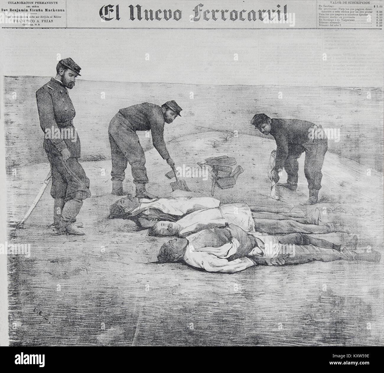Fotografía de hombres muertos en el campo de La Alianza durante la Guerra del Pacífico, en 1879-2 - Stock Image