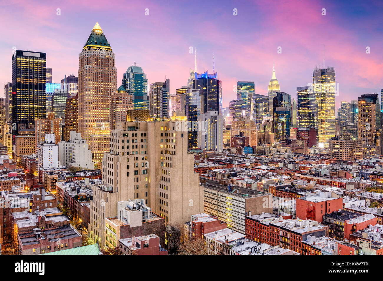 new york city usa midtown manhattan skyline over hells kitchen stock image - Hells Kitchen Manhattan