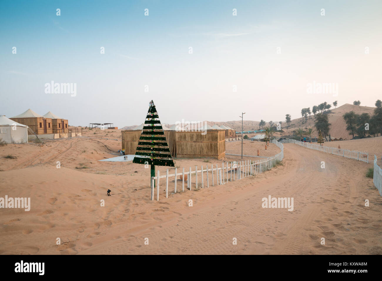 Christmas Tree In The Desert.Christmas Tree In A Bedouin Village In Rub Al Khali Desert