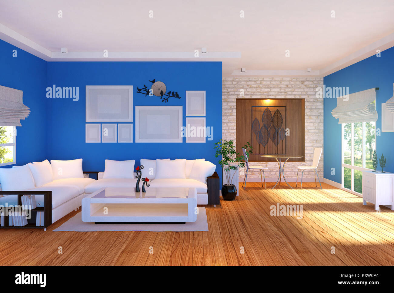 Modern Living Room Interior With Furniture And Empty Photo Frames On Wall 3D Rendering