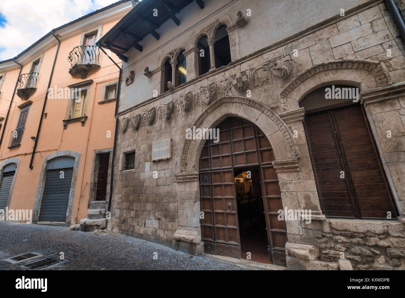 Popoli (L'Aquila, Abruzzi, Italy): historic palace in Piazza della Liberta, the main square of the city, known - Stock Image