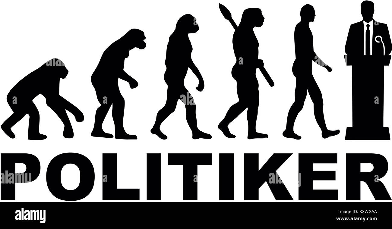 Evolution of a male politician with lectern and german word - Stock Image