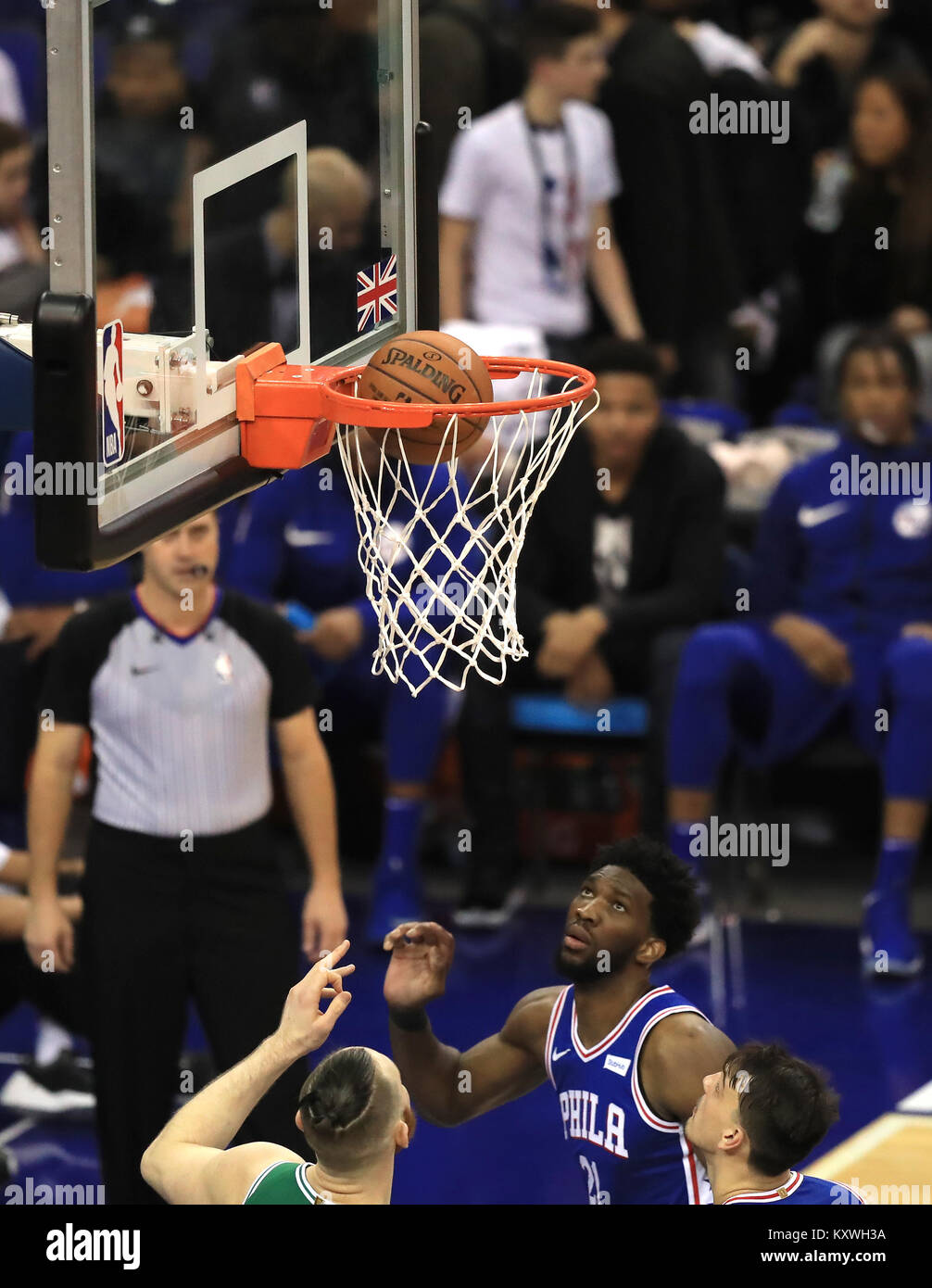 74d8847b6 Philadelphia 76ers  Joel Embiid scores a net during the NBA London Game  2018 at the O2 Arena