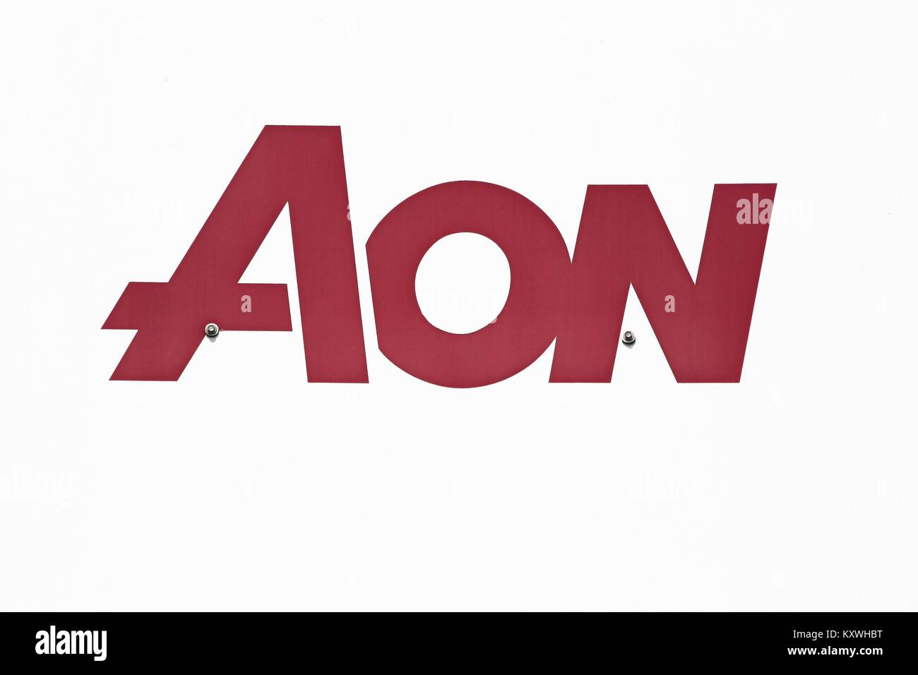 Kolding, Denmark - July 9, 2017: Aon logo on a panel. Aon is a British multinational corporation that provides risk - Stock Image
