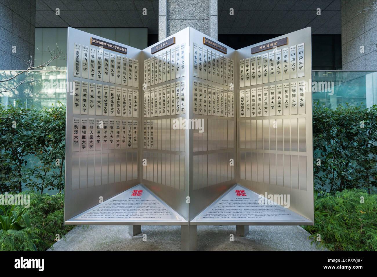 Monument of Hakone Ekiden, Chiyoda-Ku, Tokyo, Japan - Stock Image