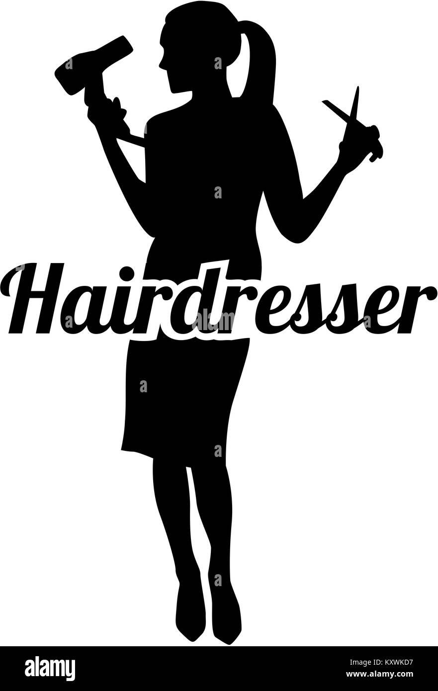 Hairdresser silhouette - Stock Image
