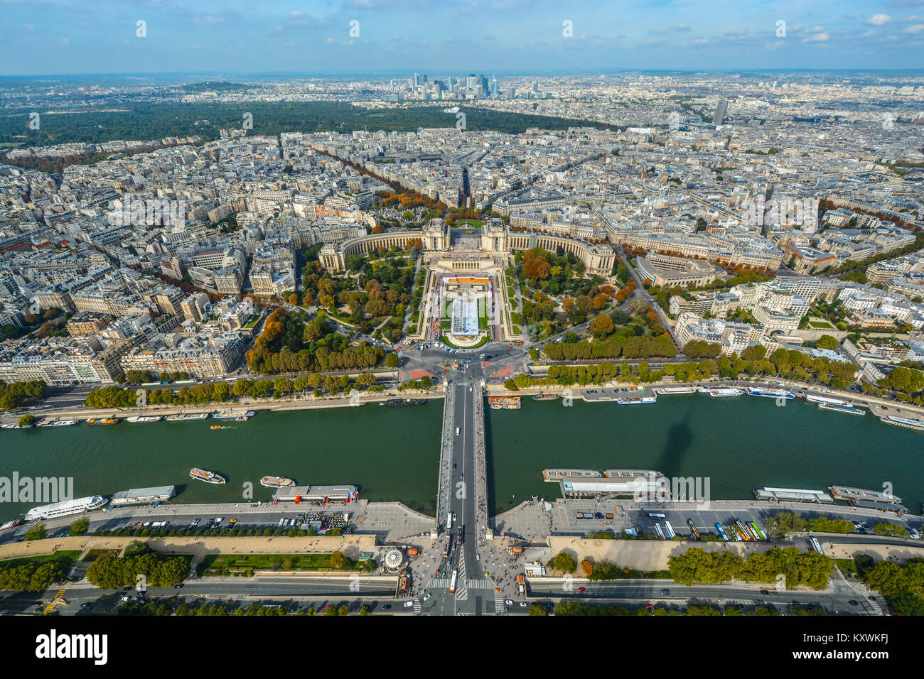 View of the River Seine, Trocadero and Paris from the platform of the Eiffel Tower in Paris France in early autumn - Stock Image