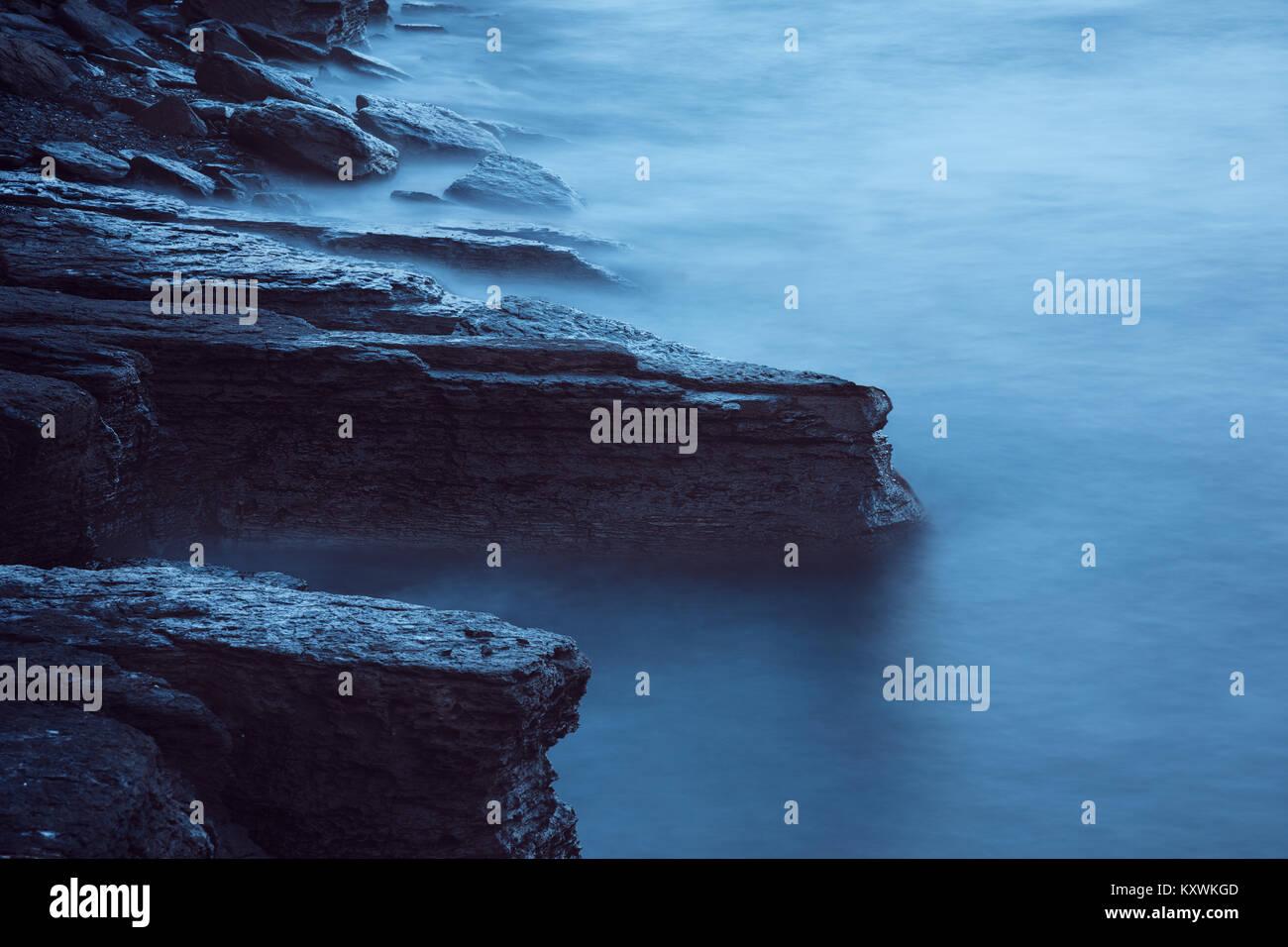 Evening sea long time exposure - Stock Image