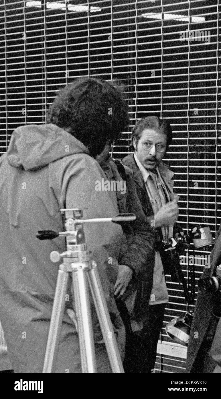 photojournalist, Greg Robinson covering the Patty Hearst trial in the 1970s. San Francisco Bay area. - Stock Image