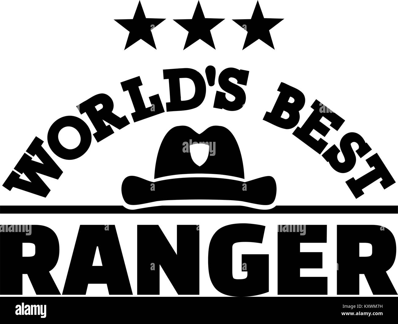 World's best Ranger with hat - Stock Vector