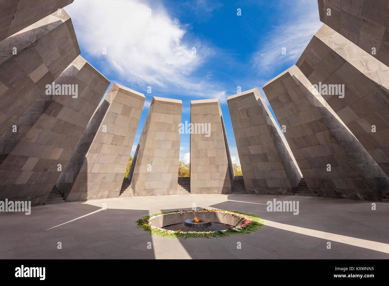 YEREVAN, ARMENIA - SEPTEMBER 29, 2015: Inside Tsitsernakaberd - The Armenian Genocide memorial complex, it is Armenia - Stock Image