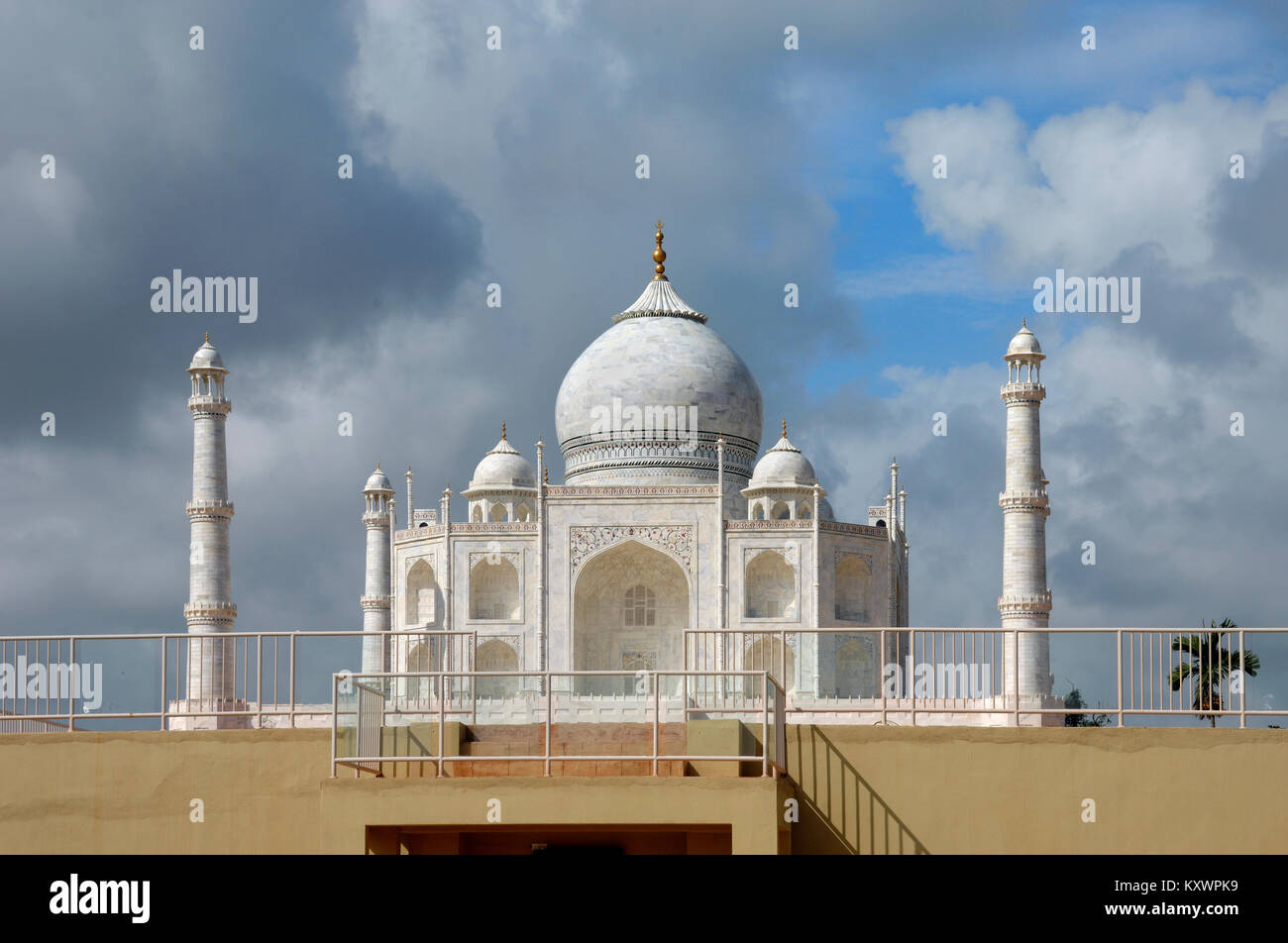 Scale Model or Replica of the Taj Mahal; Mughal or Moghal Tomb, Agra, India at the Islamic Heritage Theme Park, - Stock Image