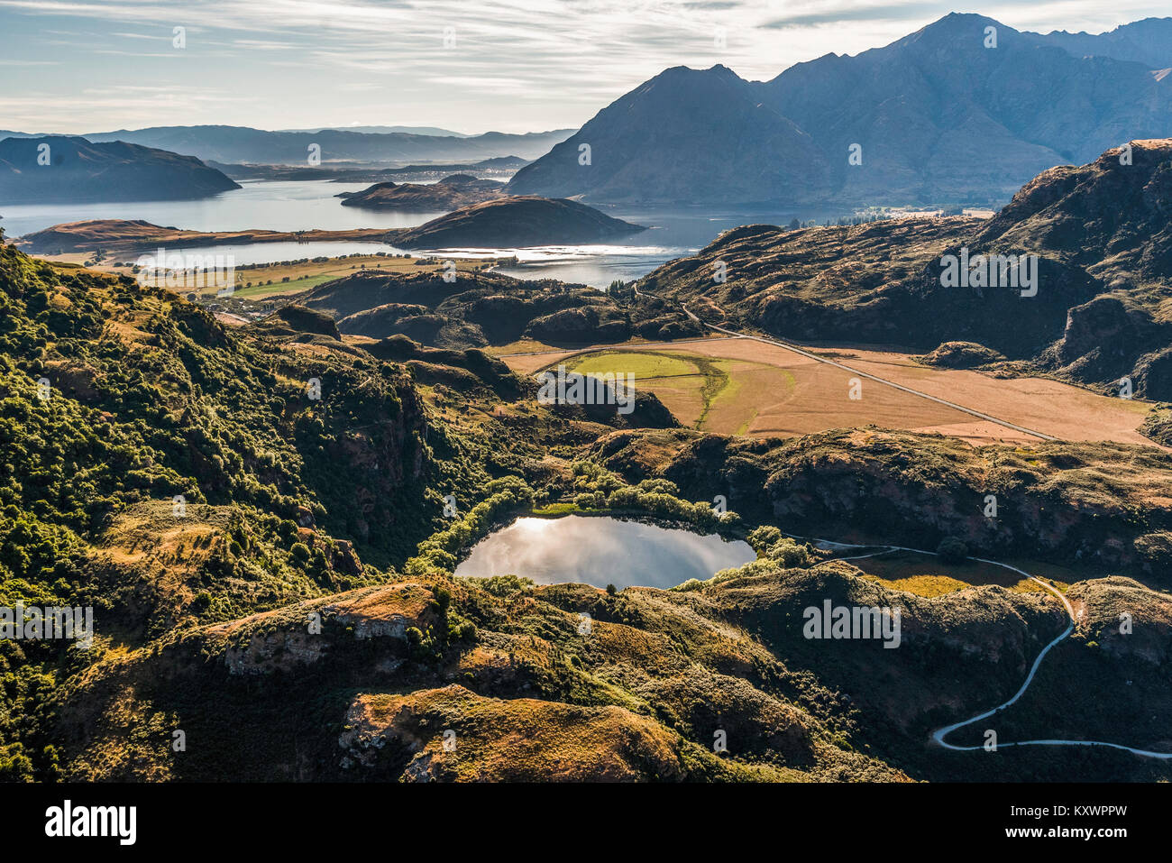 Diamond Lake near Laka Wanaka, Otago New Zealand - Stock Image