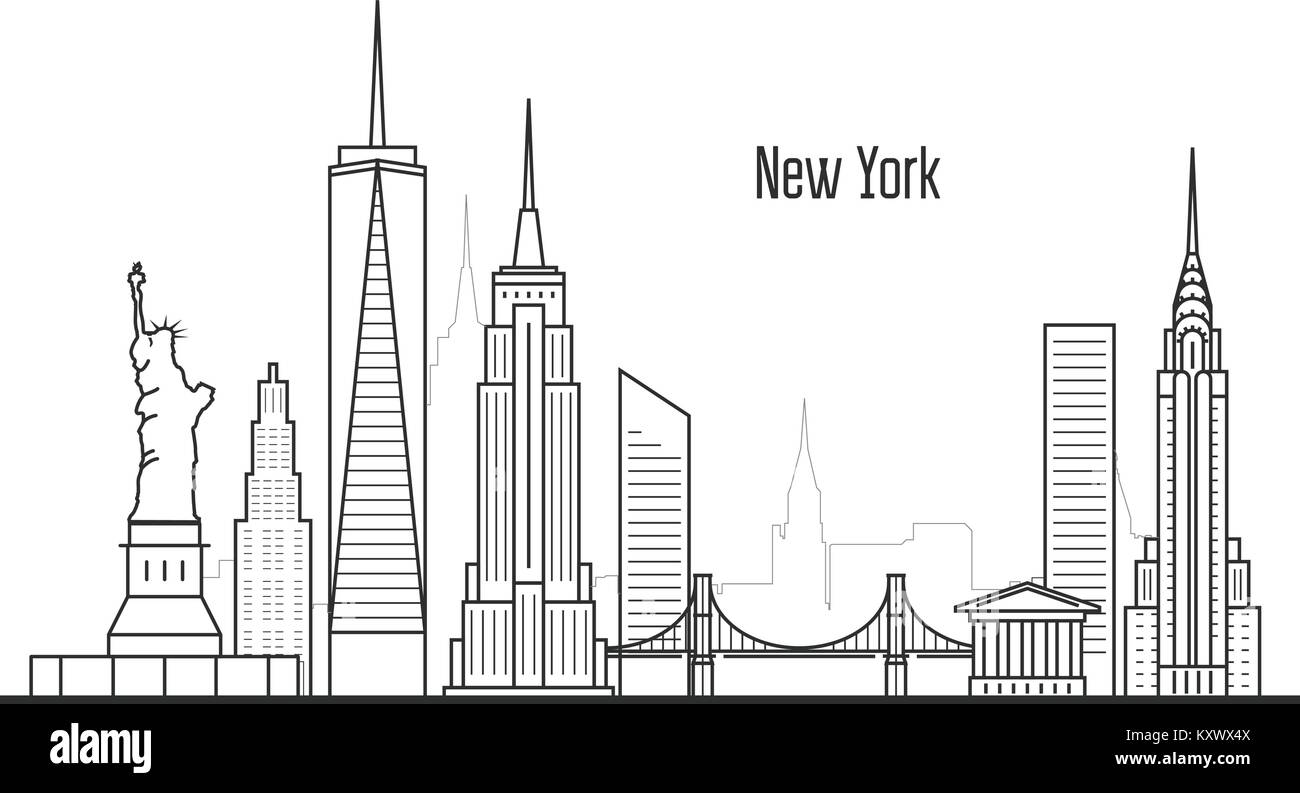 New York city skyline - Manhatten cityscape, towers and landmarks in liner style - Stock Vector
