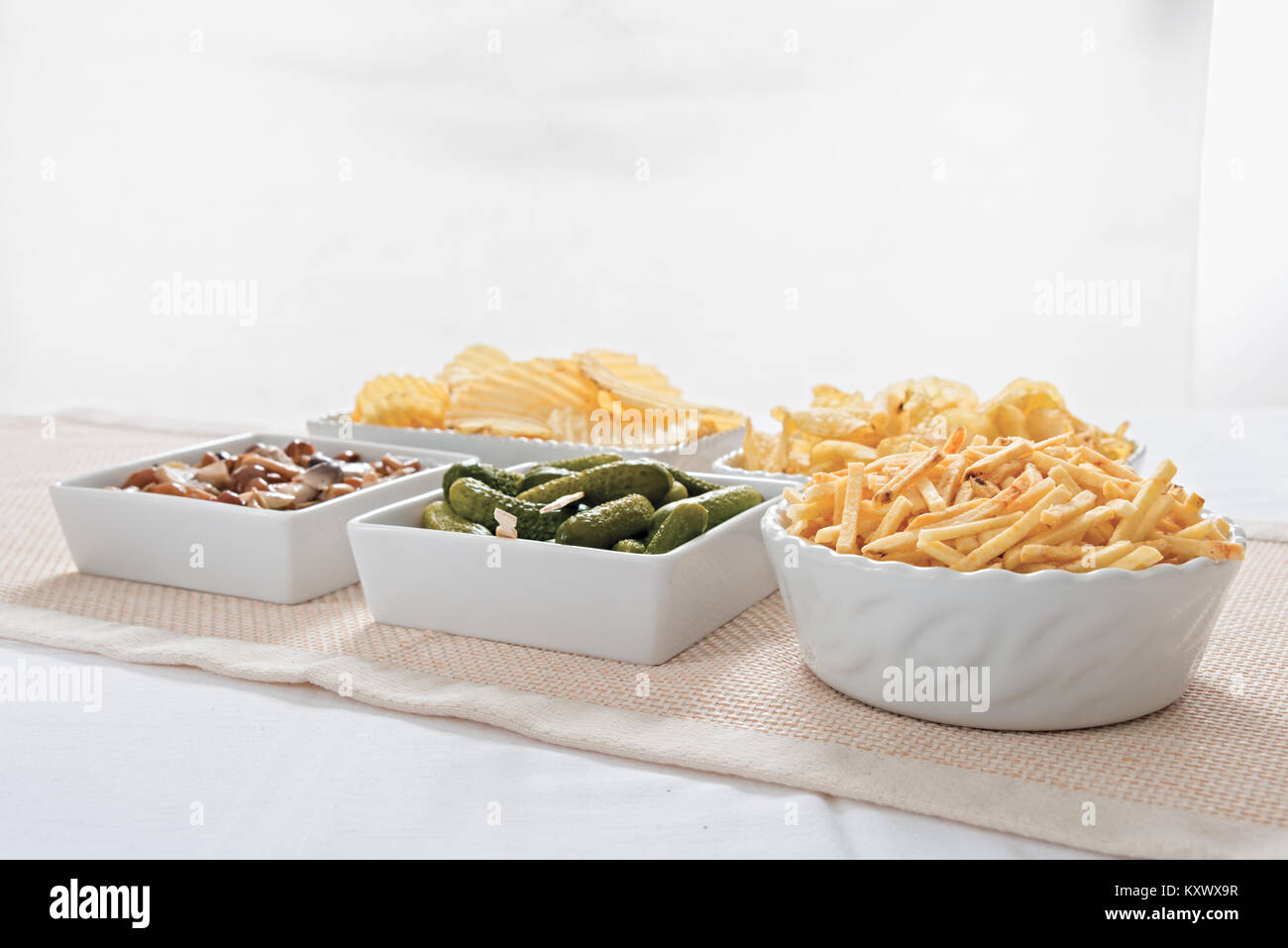 fries and gherkins aperitif chips from below 2 - Stock Image