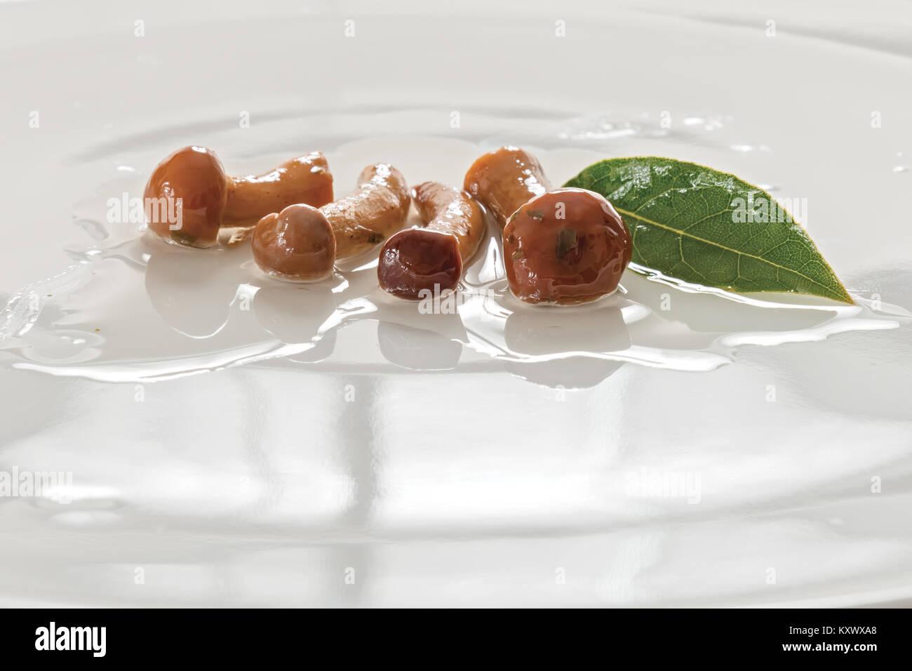 mushrooms tacks in oil close-up - Stock Image
