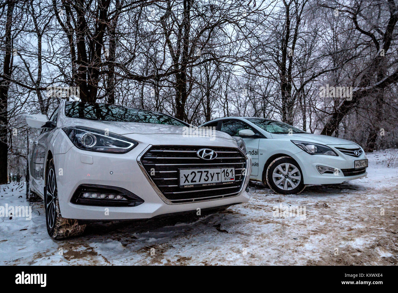 ROSTOV-ON-DON, RUSSIA- CIRCA DECEMBER 2016: Hyundai i40 and Hyundai Solaris - Stock Image