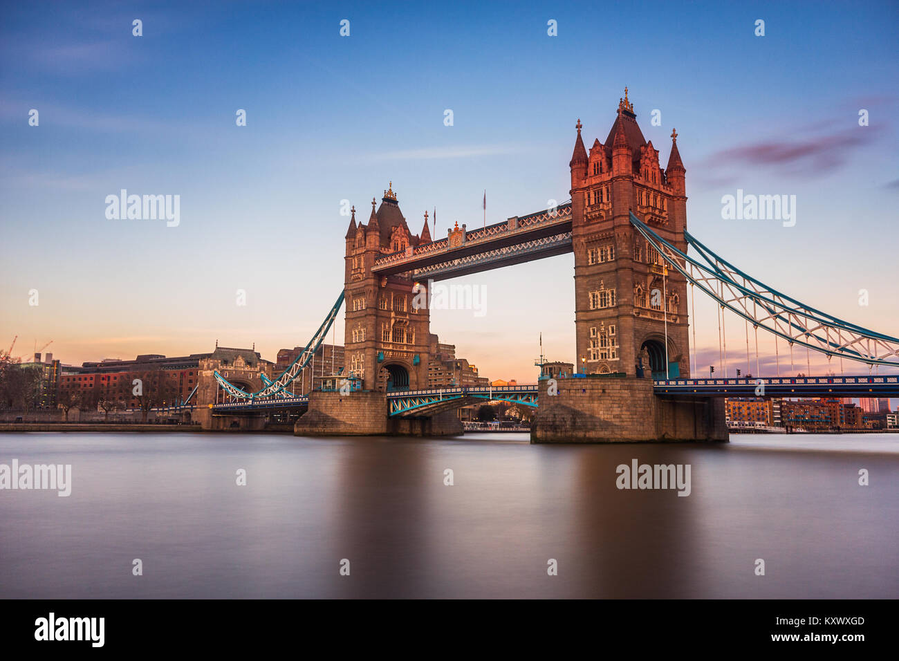 Last sunlight on Tower Bridge, London, UK - Stock Image