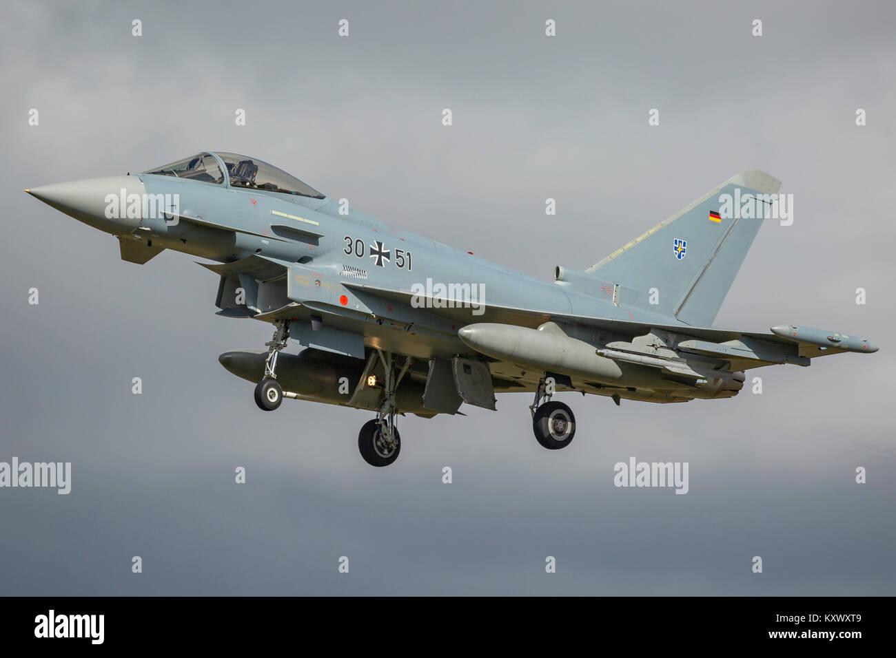 Lufwaffe Eurofighter EF-2000 landing at RAF Coningsby - Stock Image