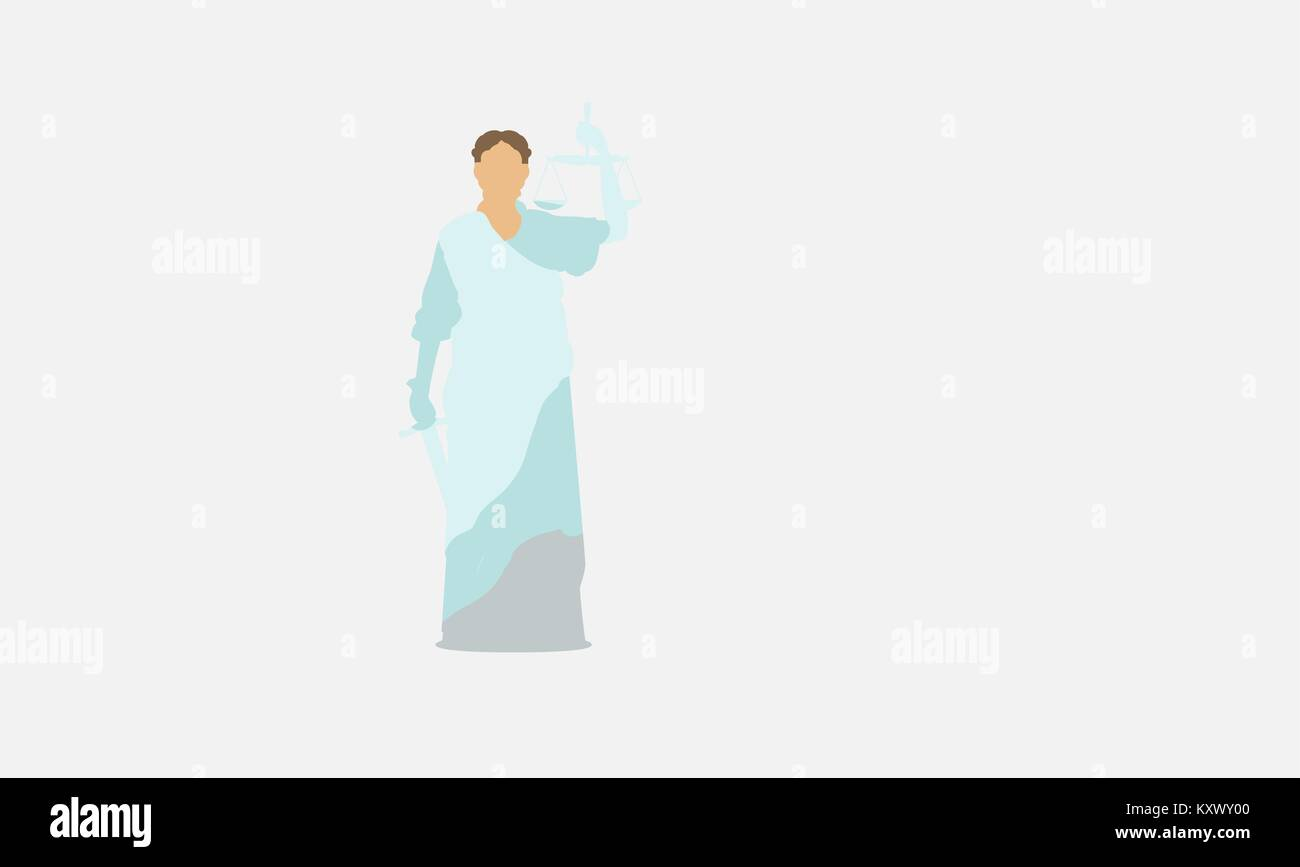 Lawsuit, judge symbol. Lady justice, judgment, defence, justitia concept. Vintage vector illustration - Stock Image