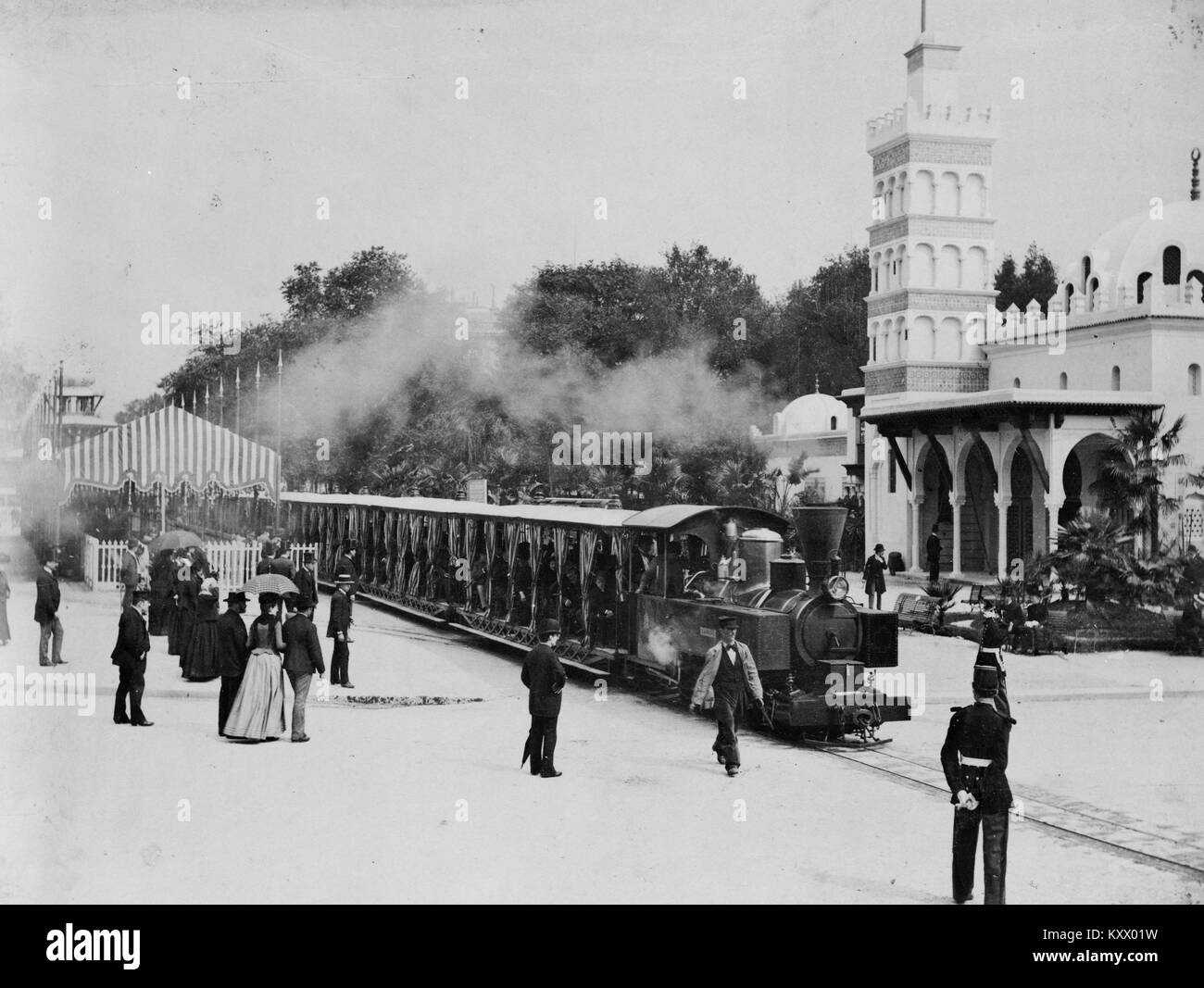 Trains at the Paris Universal Exposition in 1900 Stock Photo