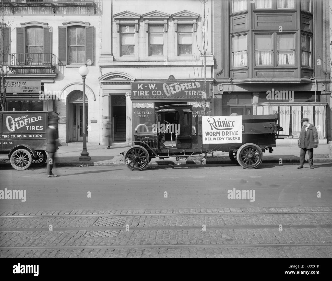 Ranier, Worm Drive Delivery Trucks, Barney Oldfield Tires - Stock Image