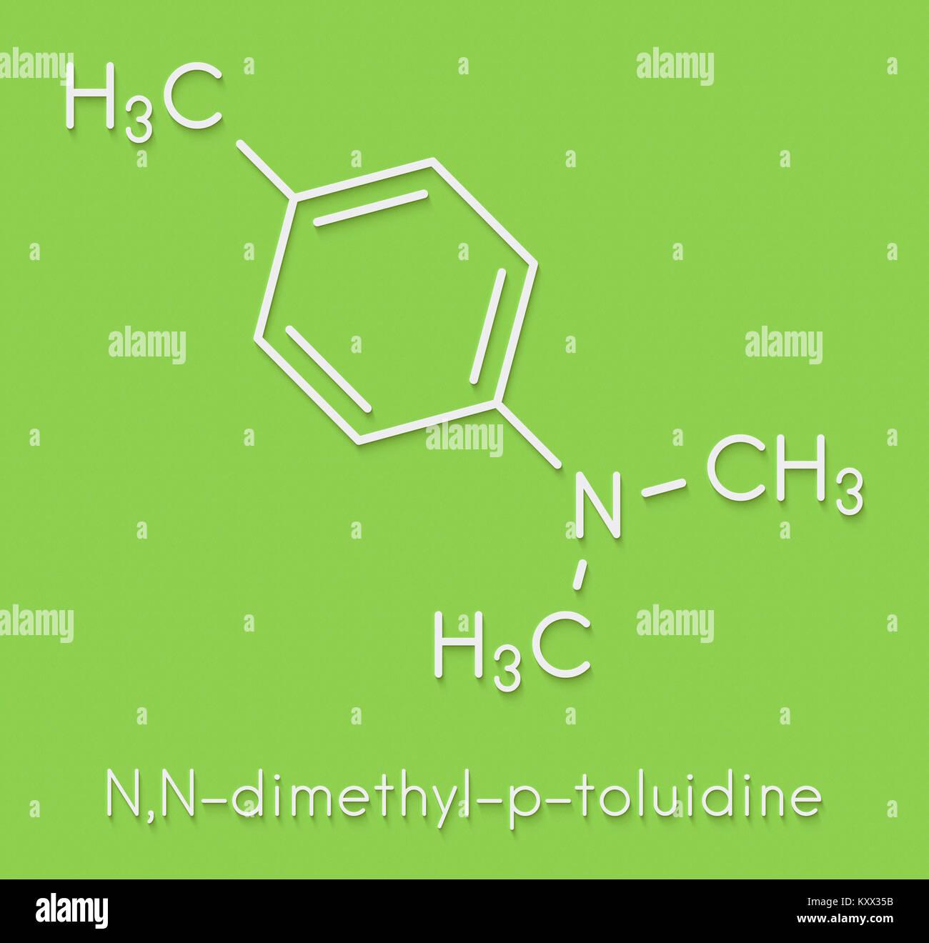 N,N-dimethyl-p-toluidine (N,N,4-trimethylaniline) polymerization catalyst molecule. Skeletal formula. - Stock Image