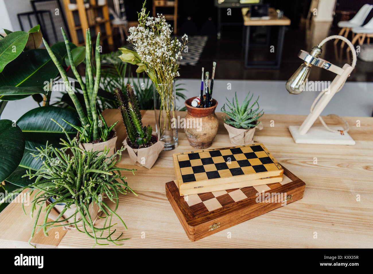 Group of green plants in pots with chess boards and retro lamp on the table - Stock Image