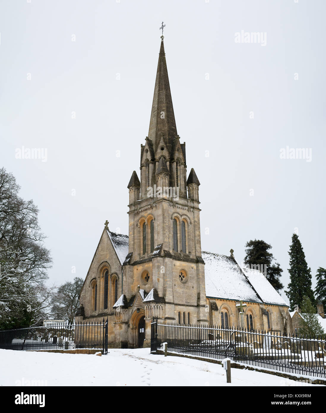 St Marys Church In The Snow December Next To Batsford Arboretum Cotswolds Moreton