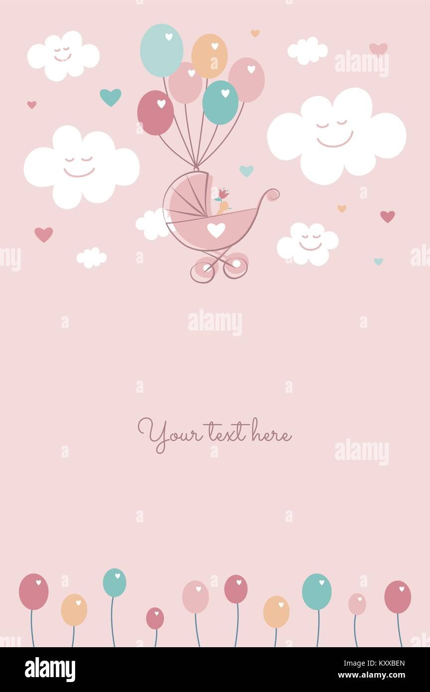 Baby Shower Baby Girl Birth Celebration Card Template Vector