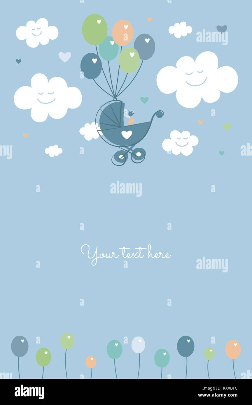 Baby Shower Baby Boy Birth Celebration Card Template Vector