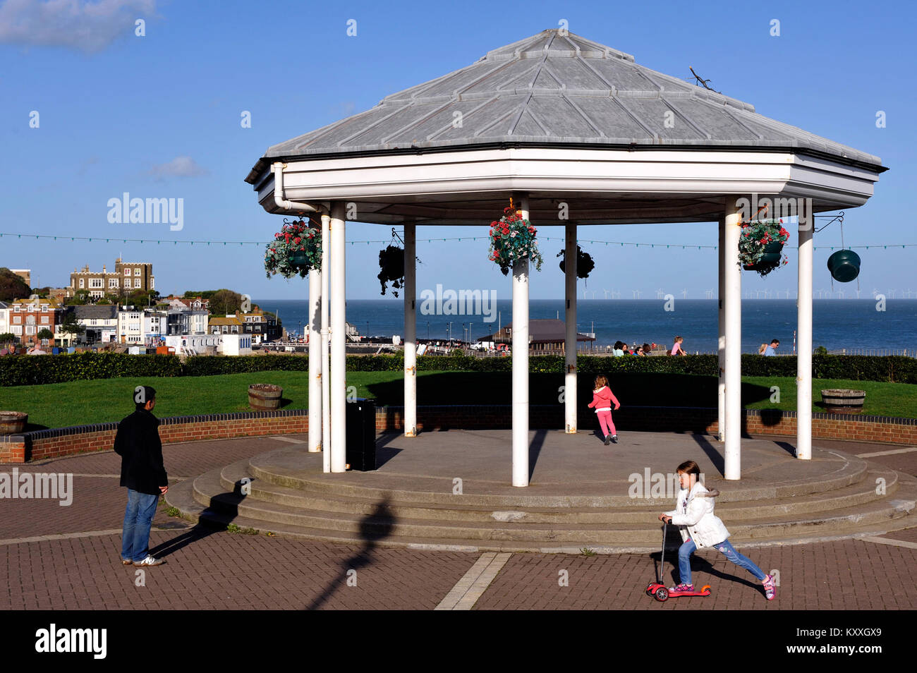 Children playing on the Bandstand, Broadstairs, Kent, England, UK - Stock Image