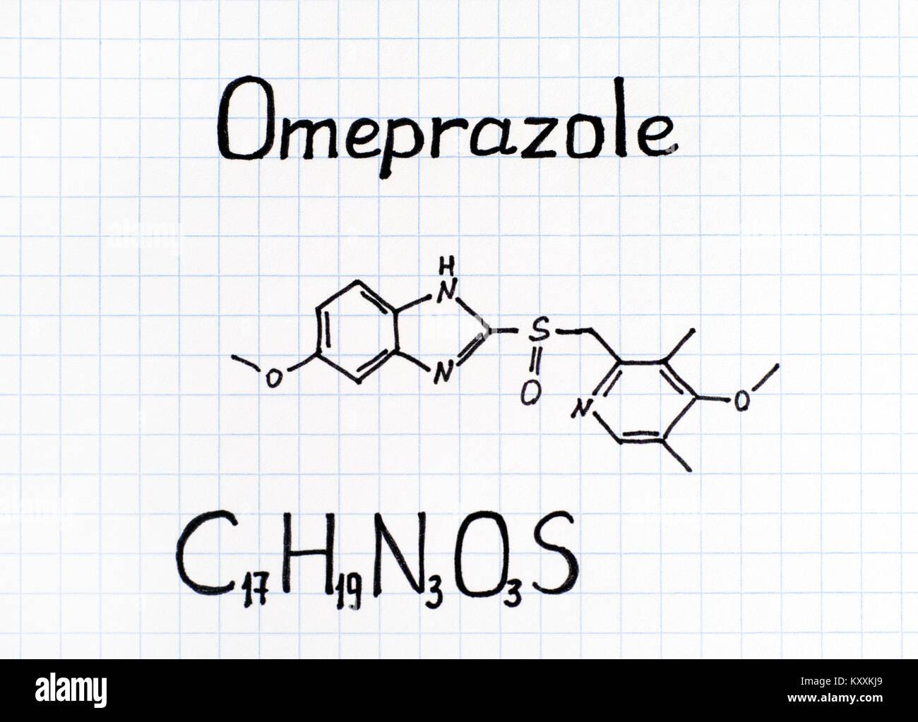 Chemical formula of Omeprazole. Close-up. - Stock Image