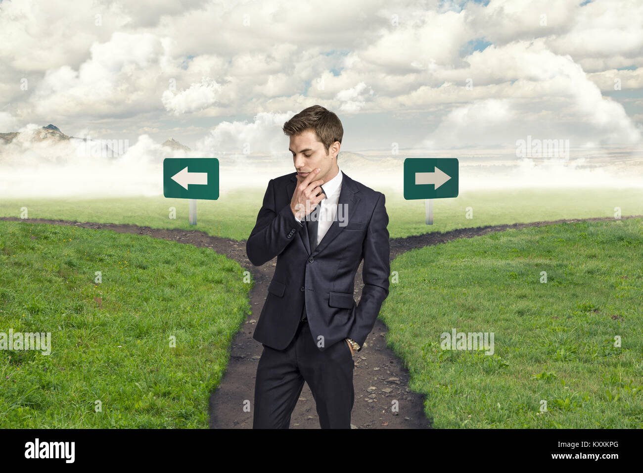 thinking man and crossroads way on background - Stock Image