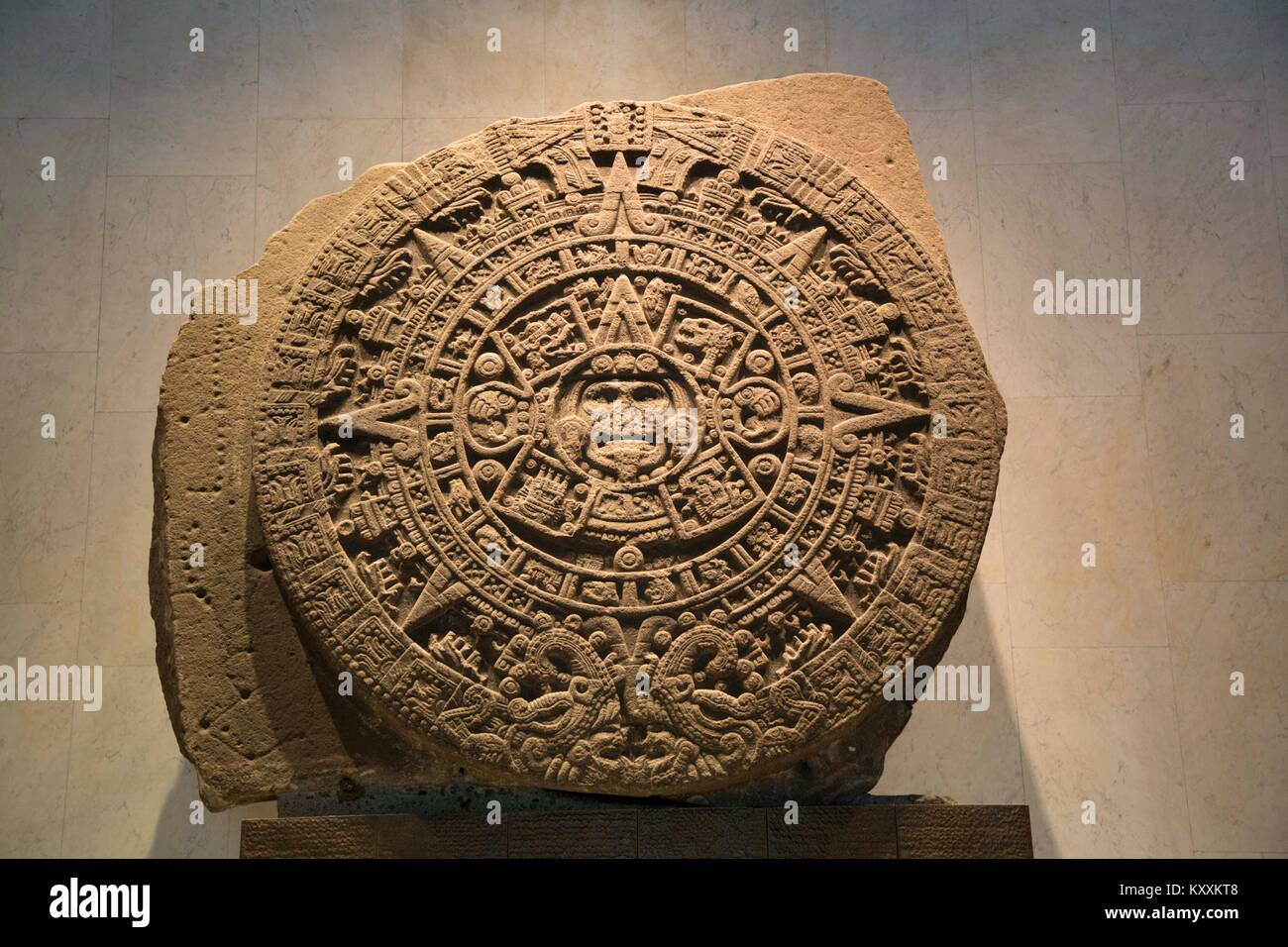 Stone of the Sun, National Museum of Anthropology, Mexico City, Mexico - Stock Image