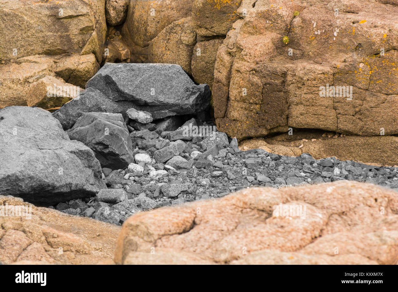Seaside Rocks at Portrush Co.Antrim N.Ireland - Stock Image