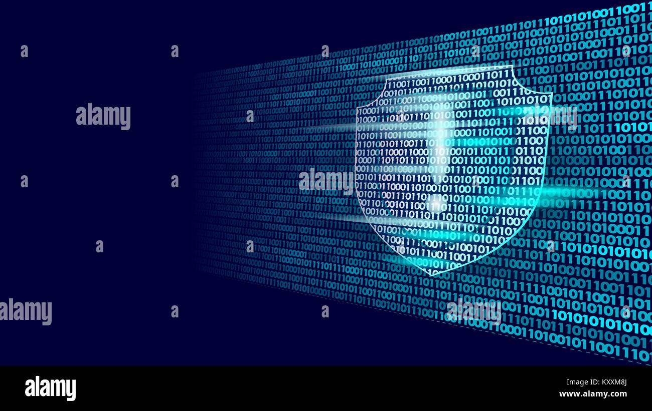 Shield guard safety system binary code flow. Big data security hacker attack computer antivirus business concept - Stock Image