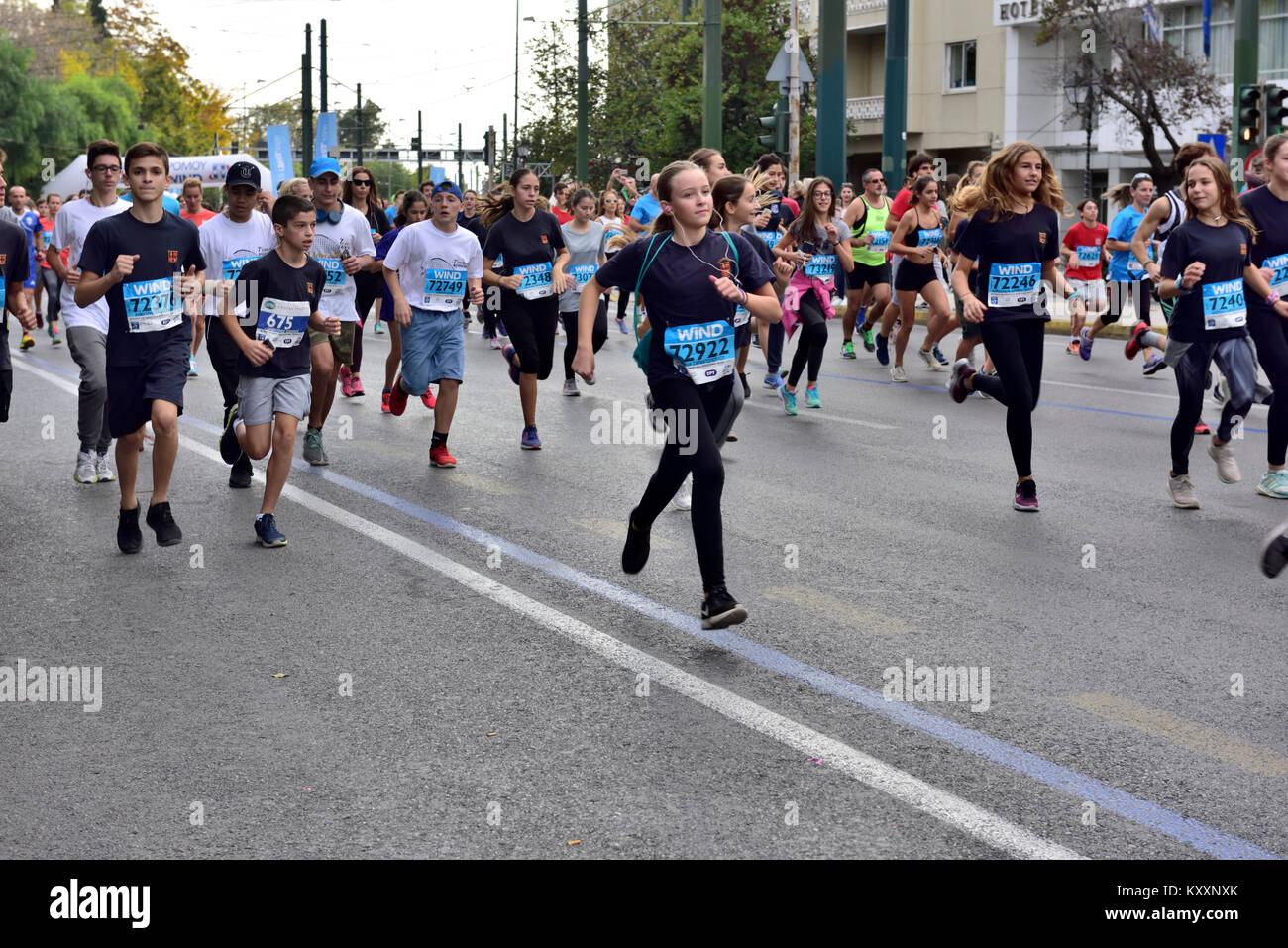 Runners starting the 5km Road Race part of the 12 Nov 2017 Athens Authentic Marathon, Athens, Greece - Stock Image