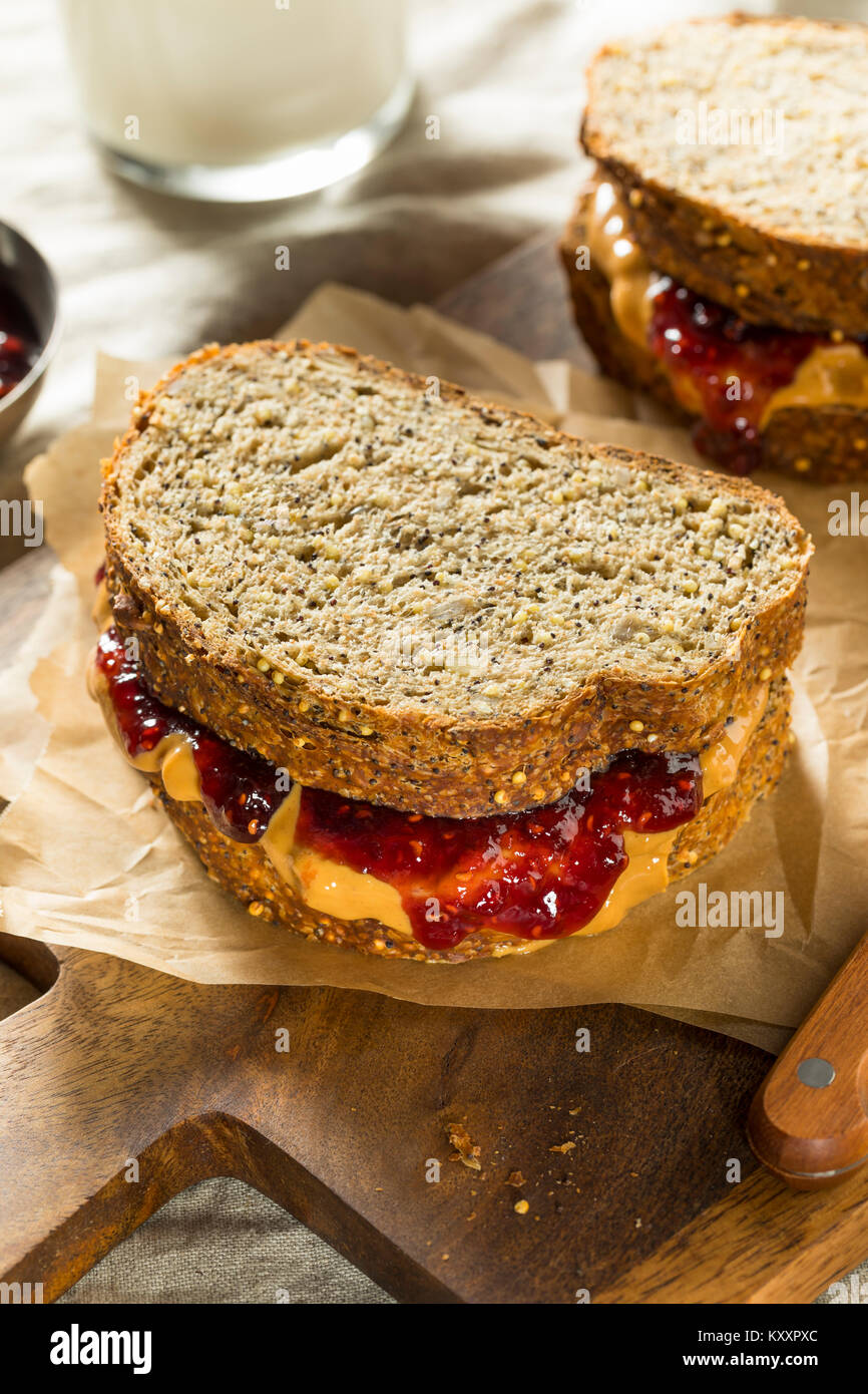 Sweet Homemade Gourmet Peanut Butter and Jelly Sandwich for Lunch - Stock Image