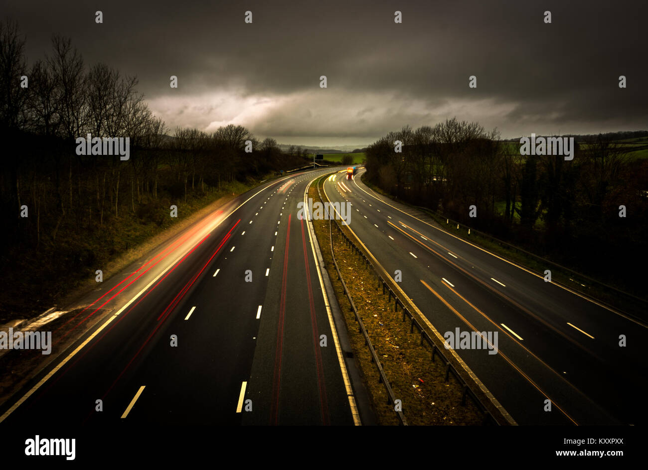 Gloomy weather over the M6 Motorway near Carnforth in Lancashire (UK). Stock Photo