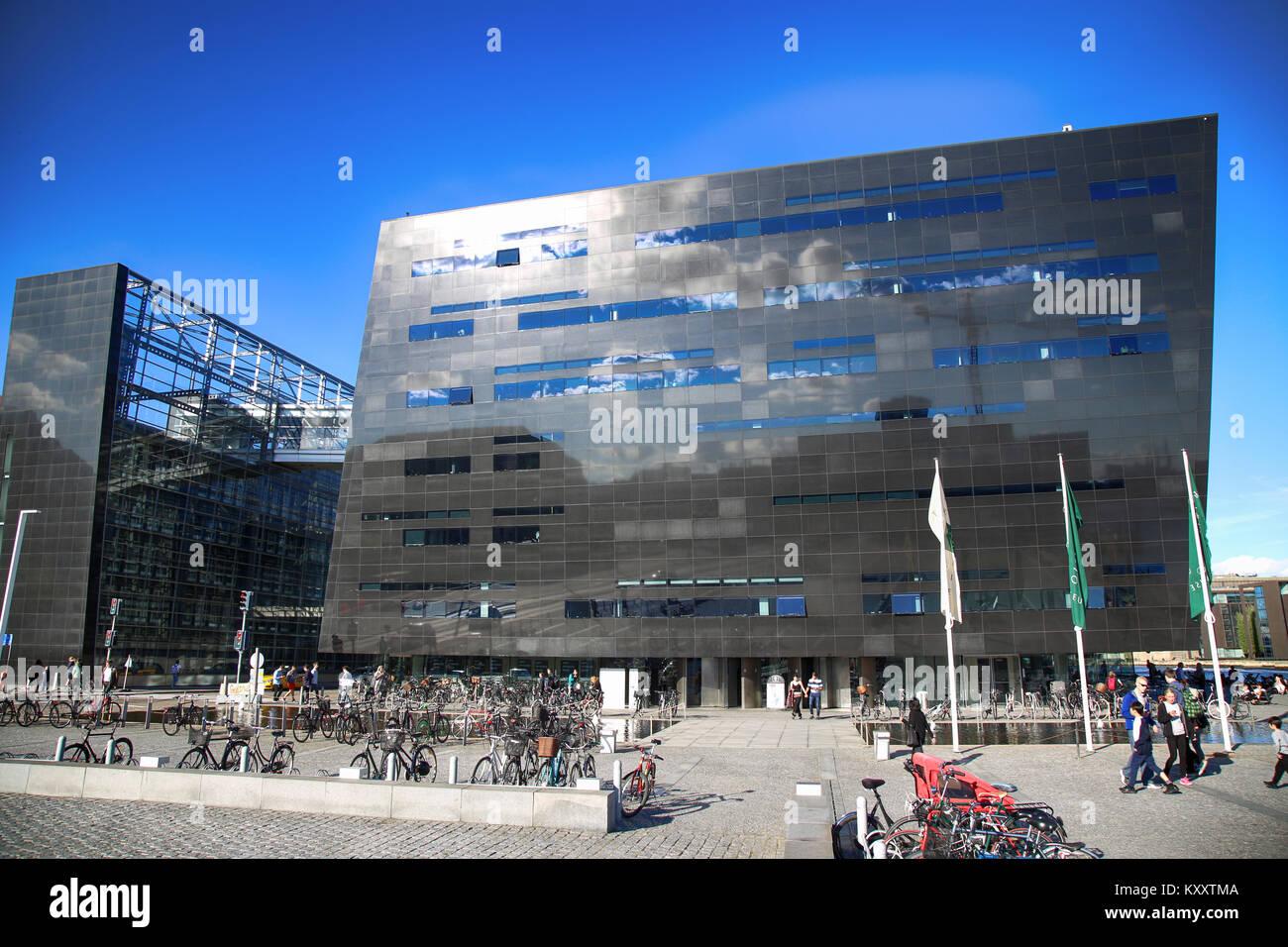 COPENHAGEN, DENMARK - AUGUST  16, 2016:  The Black Diamond, The Copenhagen Royal Library (Det Kongelige Bibliotek) Stock Photo