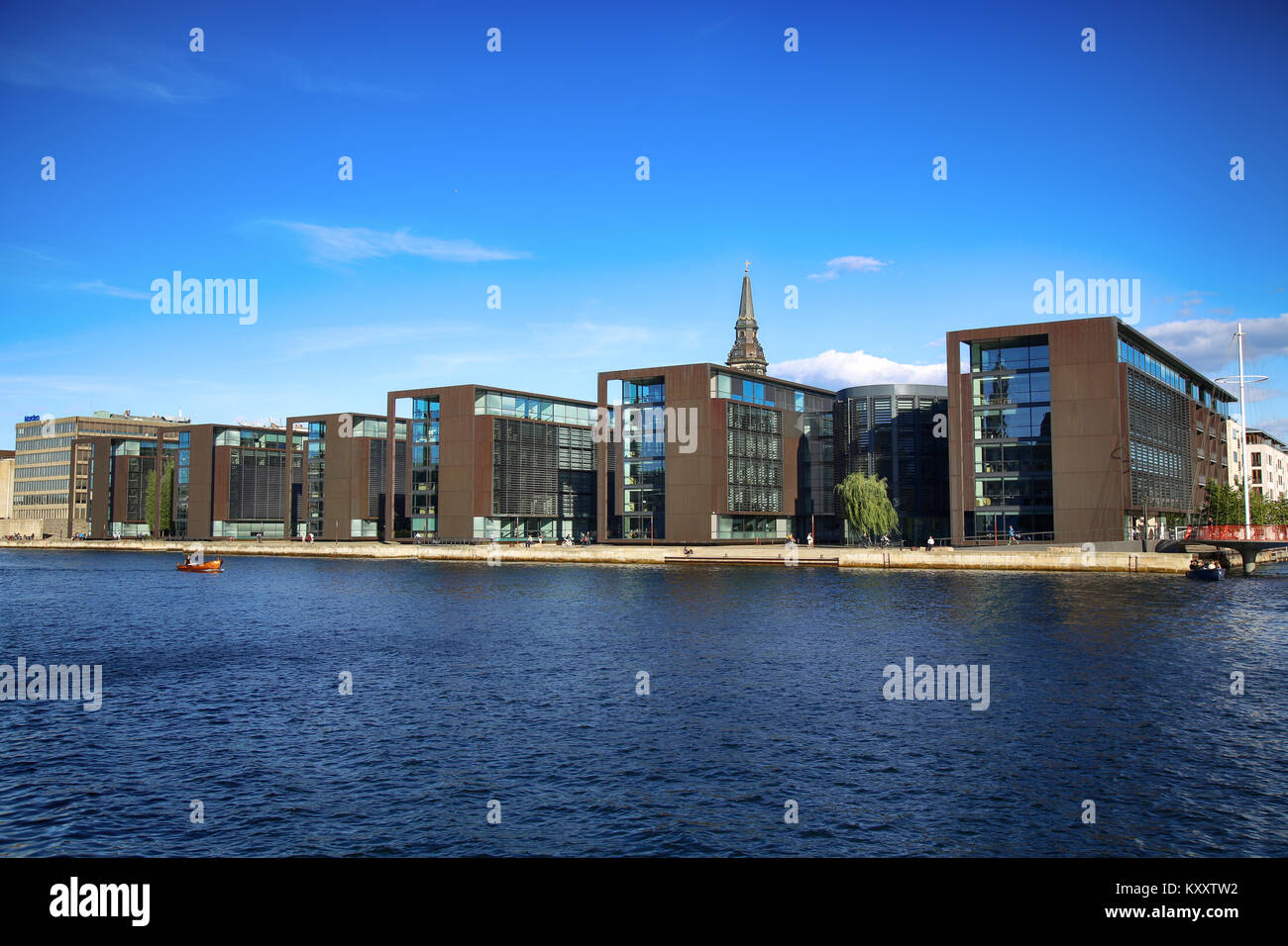 COPENHAGEN, DENMARK - AUGUST  16, 2016:  Beautiful view on Copenhagen waterfront, modern buildings and behind medieval Stock Photo