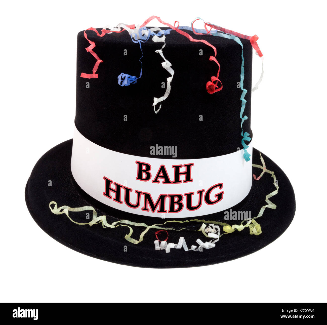 e67903f04f366 BAH HUMBUG costume celebration top hat with confetti streamers. Isolated. -  Stock Image