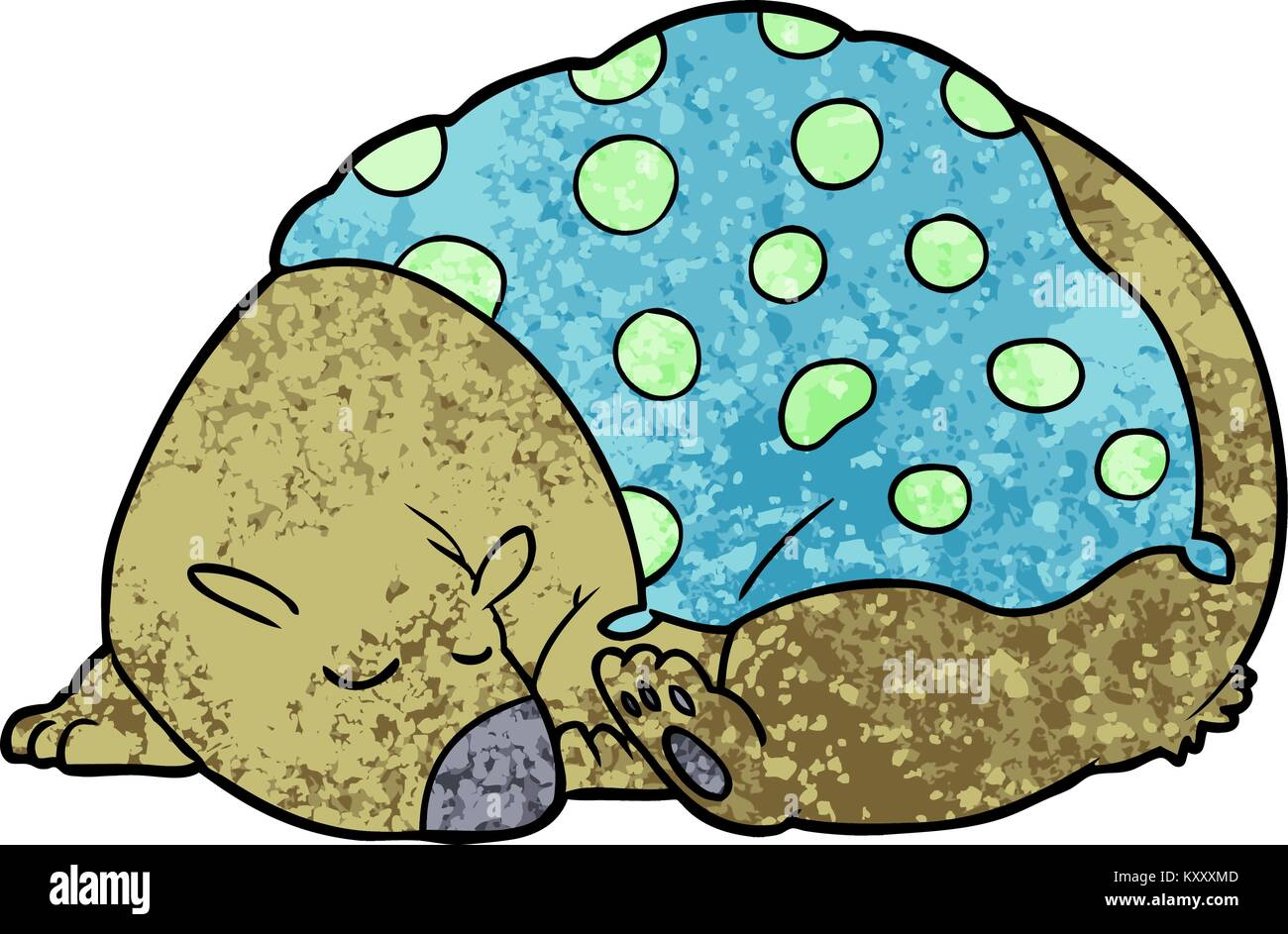 sleeping bear cartoon character - Stock Image