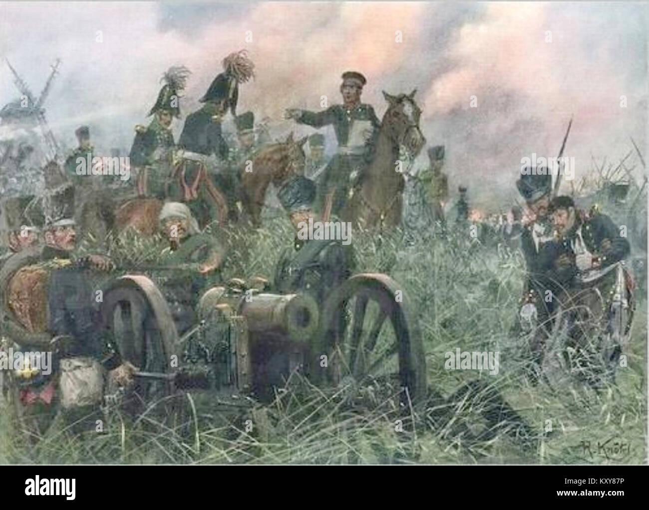 Gneisenau at the Battle of Ligny, by Richard Knötel - Stock Image