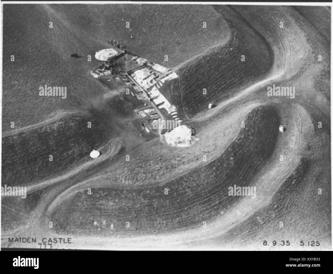Excavation of Maiden Castle's east entrance, 1935 Stock Photo