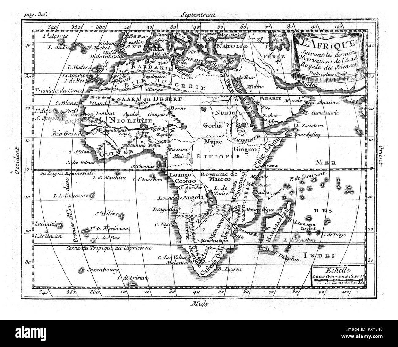 Géographie Buffier-carte de l'Afrique-NB - Stock Image