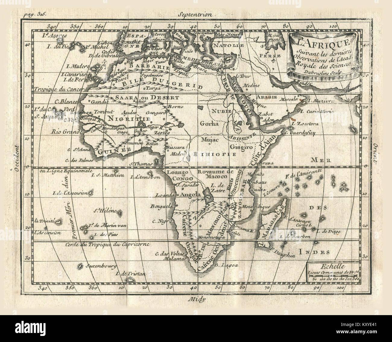Géographie Buffier-carte de l'Afrique - Stock Image
