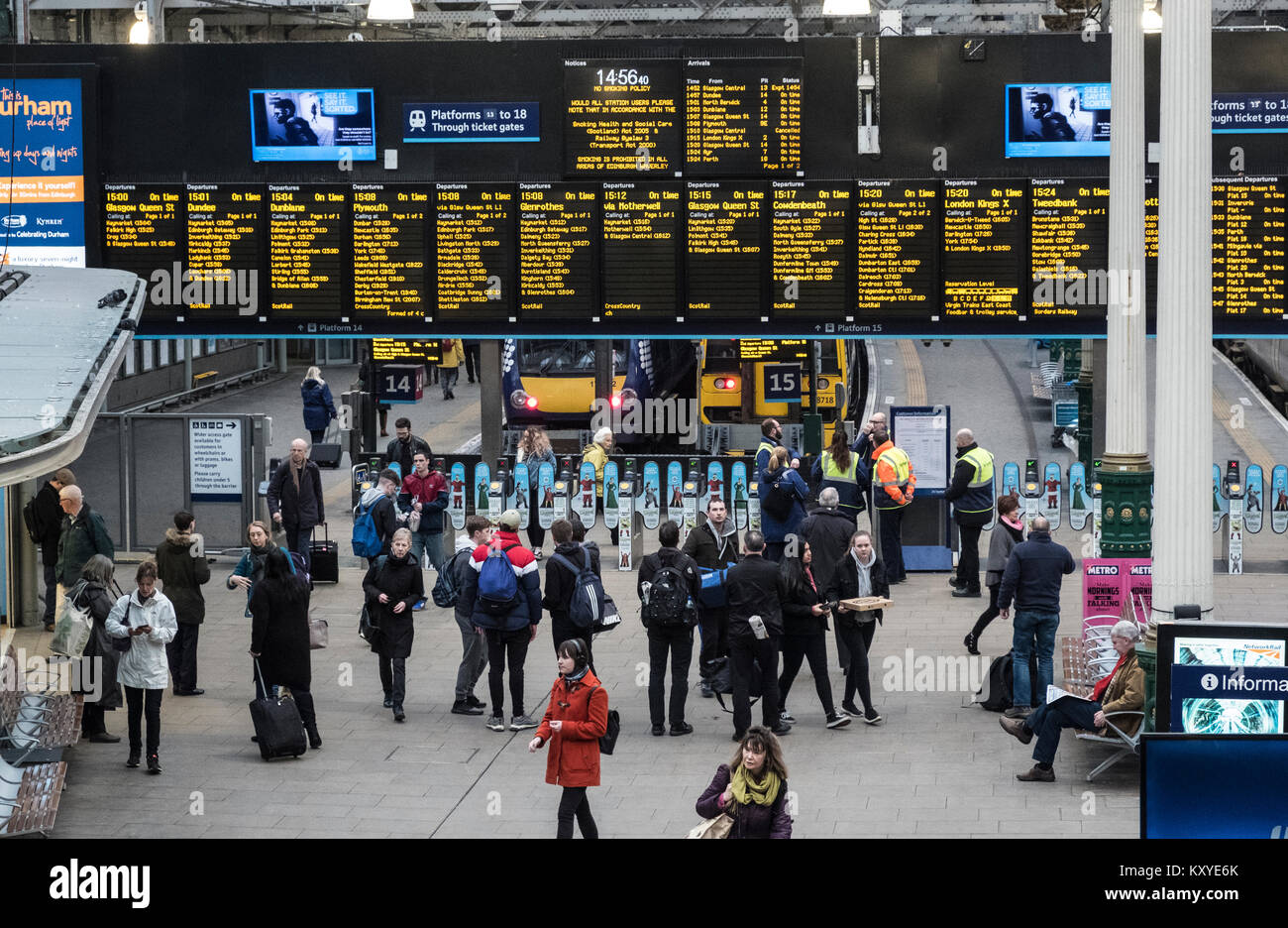 Interior view of Waverley Railway Station in Edinburgh, Scotland, United Kingdom - Stock Image